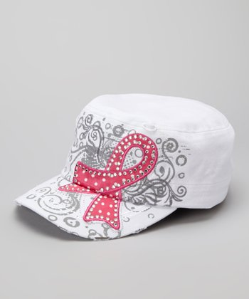 White Pink Ribbon Cadet Cap