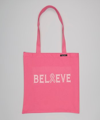Pink 'Believe' Zippered Tote Bag