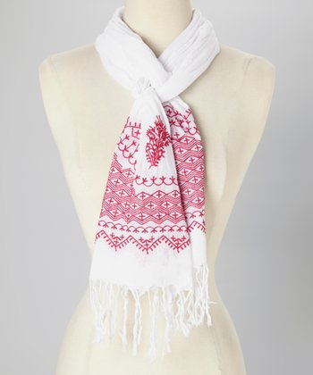 Fuchsia & White Embroidered Scarf