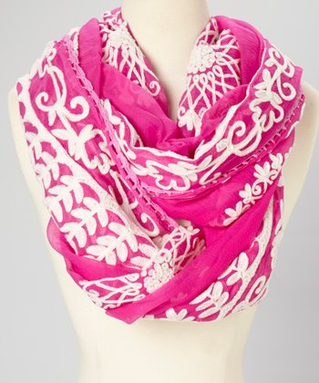 Fuchsia Floral Embroidered Dorly Silk Scarf