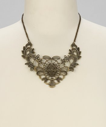 Burnished Gold Filigree Bib Necklace