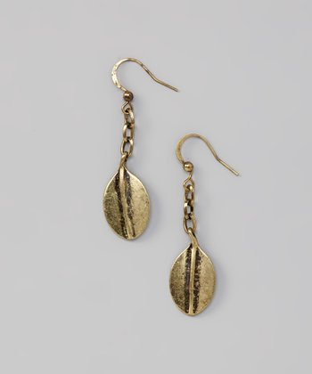 Gold Burnished Chain Leaf Earrings