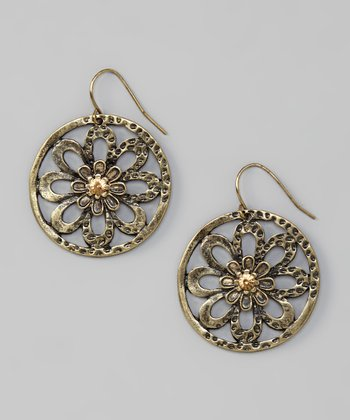 Gold & Topaz Rhinestone Burnished Flower Earrings