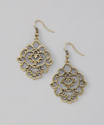Gold Burnished Filigree Drop Earrings