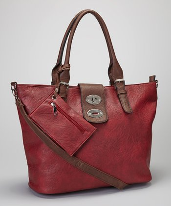 Burgundy & Brown Shoulder Bag & Clutch
