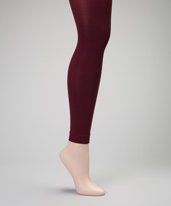 Burgundy Footless Tights