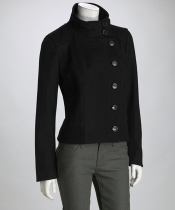 Black Military Wool-Blend Coat