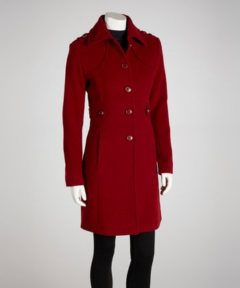 Ruby Red Wool-Blend Pencil Coat