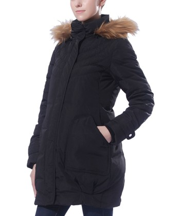 Black Rose Quilted Hooded Down Maternity Puffer Coat