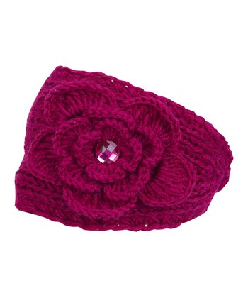 Fuchsia Rhinestone Embroidered Knit Head Wrap