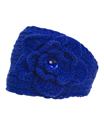 Royal Blue Rhinestone Embroidered Knit Head Wrap