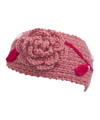 Coral Embroidered Knit Head Wrap