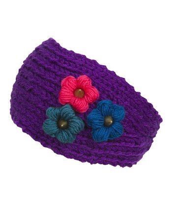 Purple Floral Knit Head Wrap