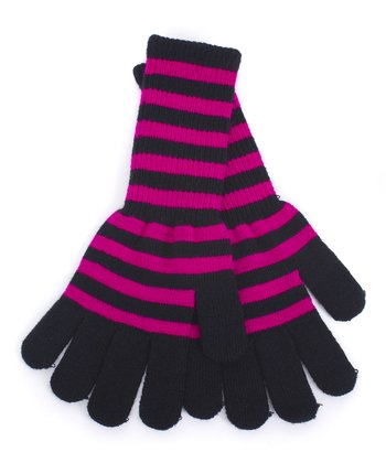 Fuchsia & Black Stripe Long Gloves
