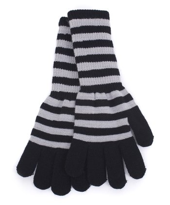 Gray & Black Stripe Long Gloves