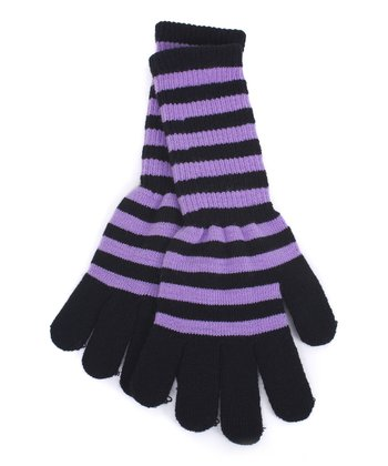 Purple & Black Stripe Long Gloves