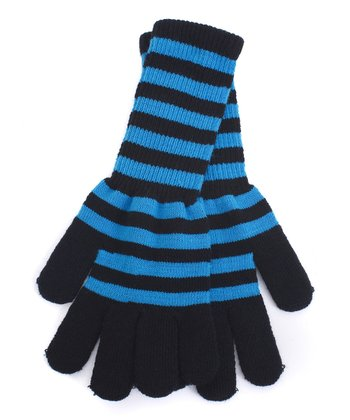 Turquoise & Black Stripe Long Gloves