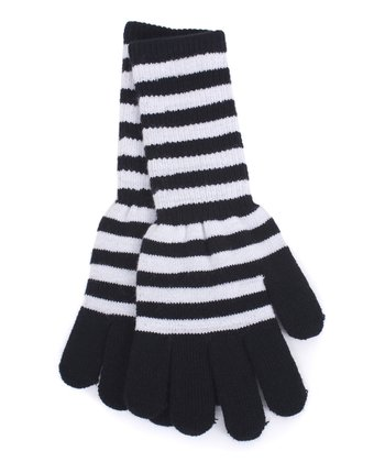 White & Black Stripe Long Gloves
