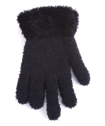 Black Fuzzy Gloves