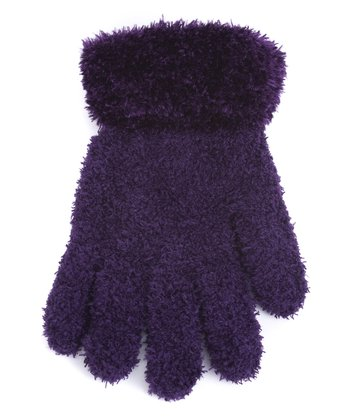 Purple Fuzzy Gloves