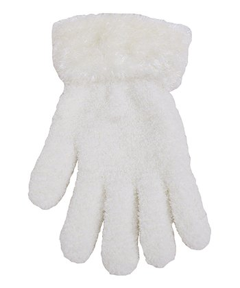 Ivory Fuzzy Gloves