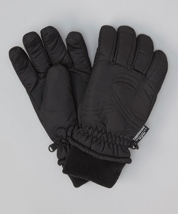 Black Shirred Gloves