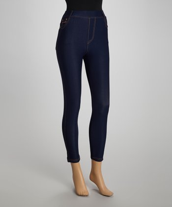 Blue Denim Fleece-Lined Jeggings