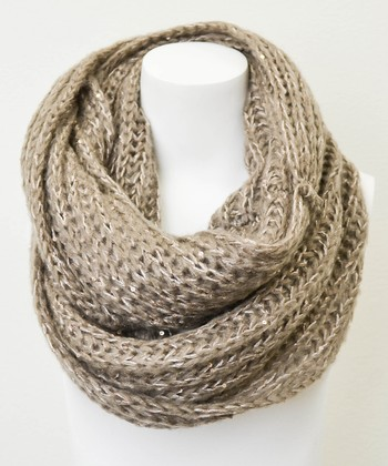 Leto Collection Mocha Chunky Knit Sequin Infinity Scarf
