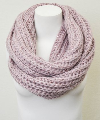 Leto Collection Mauve Chunky Knit Sequin Infinity Scarf