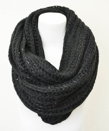 Leto Collection Black Chunky Knit Sequin Infinity Scarf
