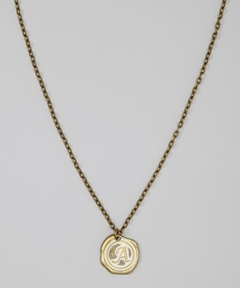 Brass Vanilla Stamped Antique Initial Pendant Necklace