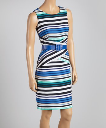 Blue & Aqua Stripe Belted Sheath Dress