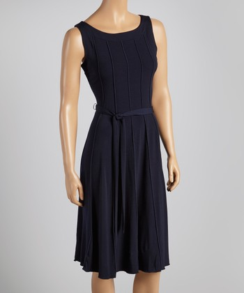 Navy Sash-Tie Dress