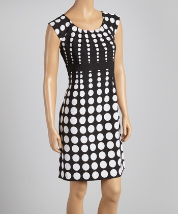 Black & White Polka Dot Pleated Cap-Sleeve Dress - Women