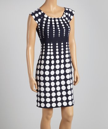 Navy & White Polka Dot Pleated Cap-Sleeve Dress - Women