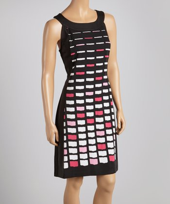 Fuchsia & Black Geometric Yoke Dress