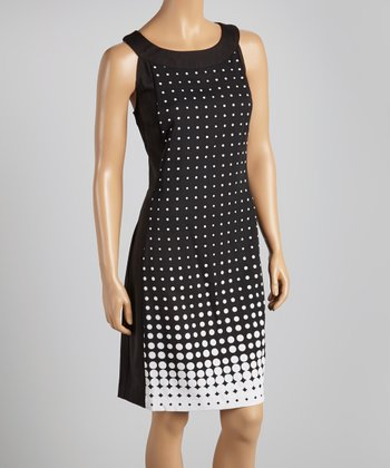 Black & White Polka Dot Yoke Dress