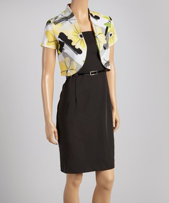 Yellow & Green Floral Belted Sheath Dress & Shrug - Women