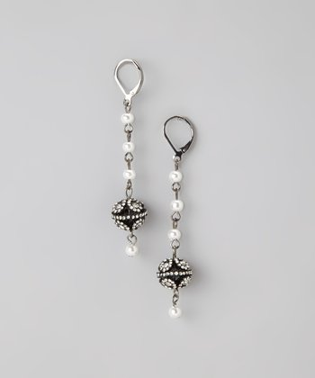 Black & White Pearl & Silver Rhinestone Drop Earrings