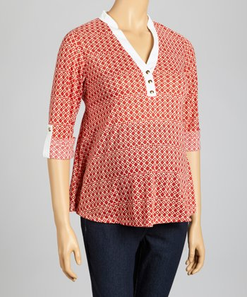 Red & White Geometric Maternity Surplice Top