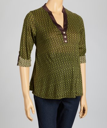 Green & Brown Geometric Maternity Surplice Top