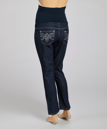 Indigo Flap-Pocket Over-Belly Maternity Skinny Jeans
