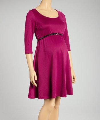 Mom & Co. Wine Belted Maternity Three-Quarter Sleeve Dress - Women