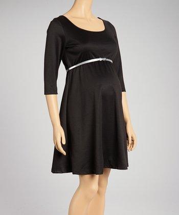 Mom & Co. Black Belted Maternity Three-Quarter Sleeve Dress - Women