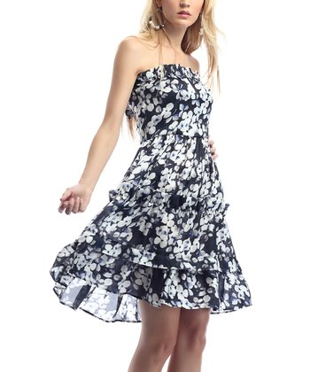 Black & Blue Flower Strapless Dress