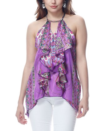 Purple Ruffle Sidetail Top
