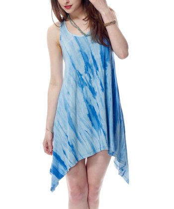 Blue Tie-Dye Sidetail Racerback Dress
