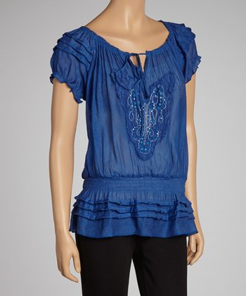 Blue Beaded Drop-Waist Top