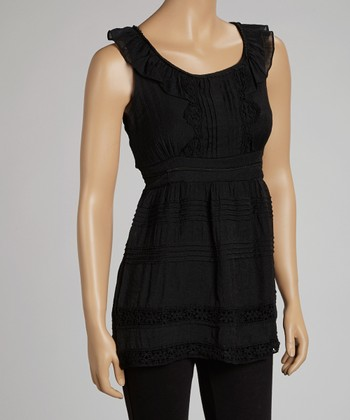 Black Pleated Yoke Sleeveless Top