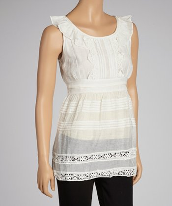 White Pleated Yoke Sleeveless Top